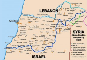 "Map showing the Blue Line demarcation line between Lebanon and Israel, established by the UN after the Israeli withdrawal from southern Lebanon after its short 1978 invasion called ""Operation Litani"". It follows the 1949 cease-fire line, also known as the Green Line, as well as the somewhat contested Lebanese-Syrian border towards the Israeli-occupied Golan Heights. The map is made by Thomas Blomberg, using the UNIFIL map, deployment as of July 2006 as source."