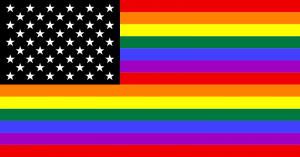 "Kansas Gov. Brownback made national headlines by ending ""extra"" protections for homosexuals in the workplace. photo  Julyo based on work by Gilbert Baker, 1979 via wikimedia commons"