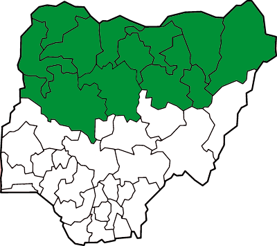 The 12 Nigerian states with Sharia law image: Bohr via wikimedia commons