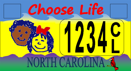 Choose Life North Carolina license plate