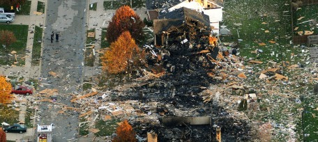 Screenshot video coverage of Indianapolis home explosion