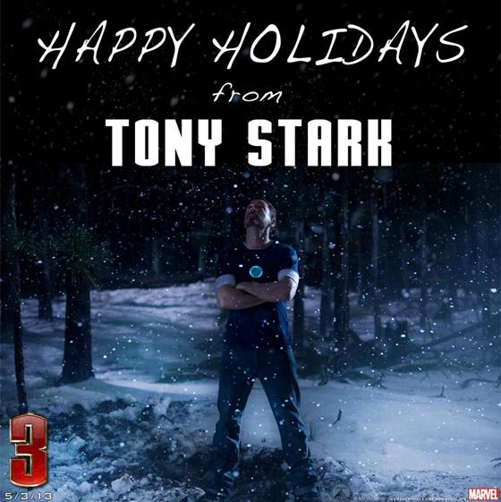 Iron Man 3 happy holidays Christmas promo photo