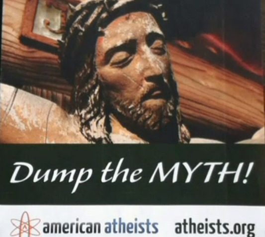 Jesus is a Myth billboard in Times Square, New York screenshot of Fox Video coverage