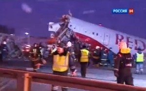 Moscow plane crash   screenshot of video coverage