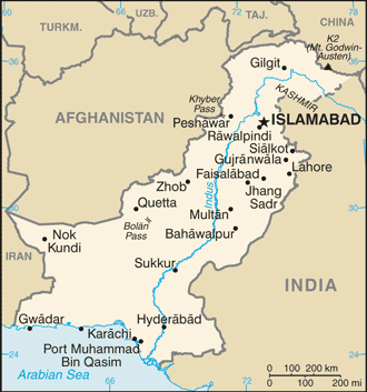 Pakistan map Photo/CIA
