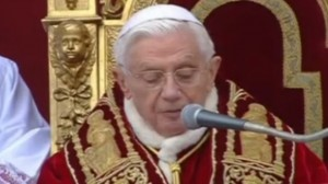 Pope Benedict XVI delivering the Christmas 2012 message   photo from screenshot Telegraph video coverage