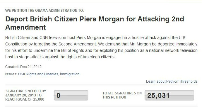 Petition to deport Piers MorganImage/Web site Screen Shot