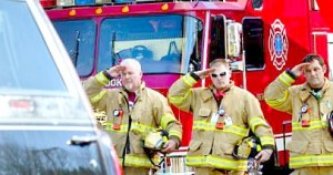 firefighters giving salute Daniel Barden funeral
