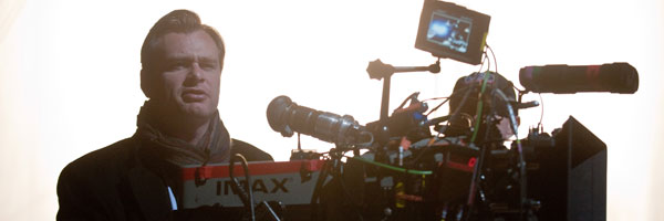 """Christopher Nolan on set of """"The Dark Knight Rises"""" with one of the IMAX cameras"""
