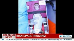 Video footage from Iran's state-run English language Press TV showing the monkey that was launched into space