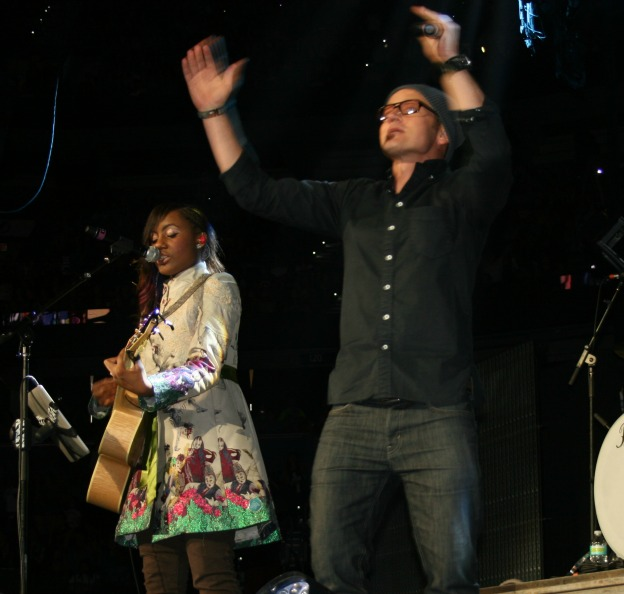 """Jamie Grace was joined on stage by TobyMac to close out her set with her hit song """"Hold Me""""  Winter Jam 2013 photo Brandon Jones"""