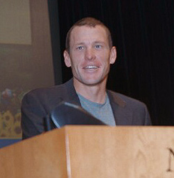 Cyclist Lance Armstrong visiting the NIH (National Institutes of Health).  NIH public Domain photo