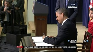 screenshot CPAN coverage President Obama signing gun control executive orders