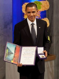 "President Barack Obama with the Nobel Prize medal and diploma during the Nobel Peace Prize ceremony in Raadhuset Main Hall at Oslo City Hall in Oslo, Norway, Dec. 10, 2009. Image has been cropped from original. The diploma reads (in English): ""The Nobel Committee of the Norwegian Storting has, in accordance with the terms of the will set up by Alfred Nobel on the 27th of November 1895, awarded Barack H. Obama the Nobel Peace Prize for 2009."" Photo/Pete Souza/Maison Blanche"