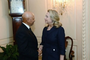 Secretary Clinton meets with Libya's Ambassador to the U.S., Ali Suleiman Aujali, at the State Department  State dept photo