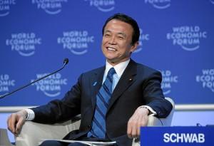 Japanese deputy Prime Minister Taro Aso in 2009 WEF. photo Hatto World Economic Forum via wikipedia