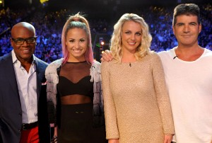 L.A. Reid, Demi Lovato, Britney Spears and Simon Cowell on the set of THE X FACTOR airing on FOX