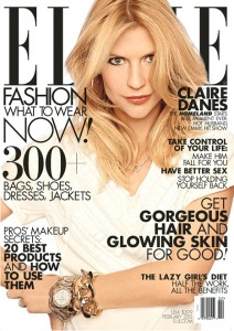"""""""Homeland"""" star Claire Danes on the cover of the February 2013 Elle magazine"""