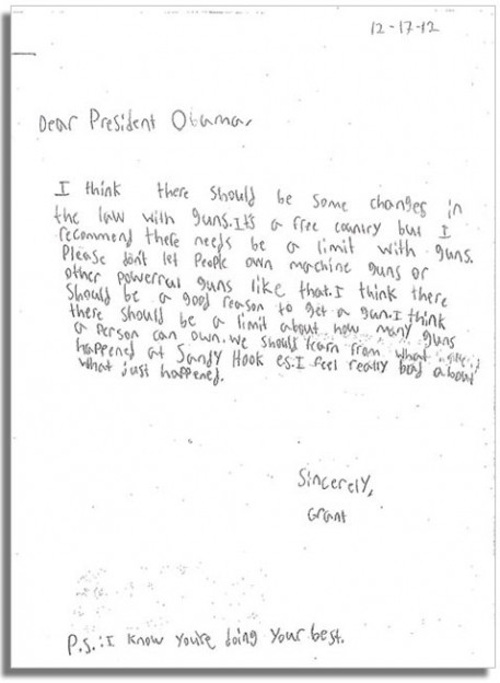 letter to President Obama from Grant on gun control