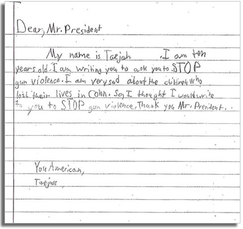 letter to President Obama from T on gun control