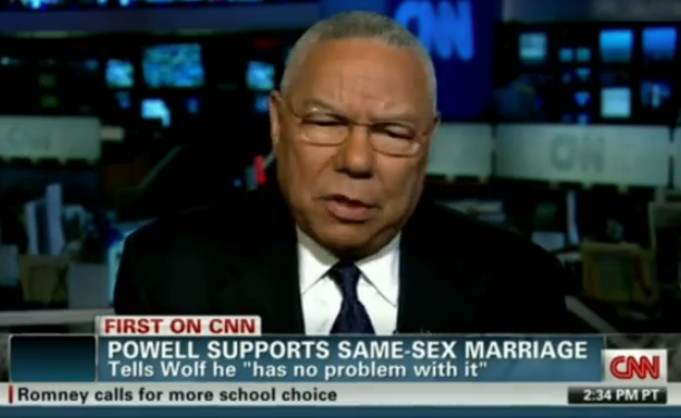 Colin Powell CNN supports gay marriage