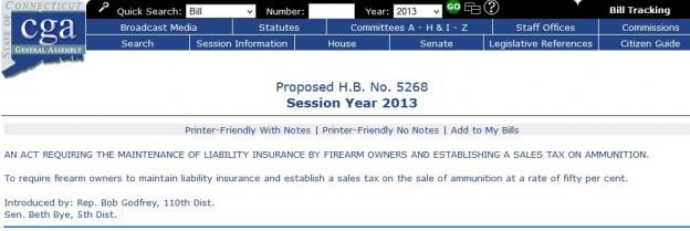 Connecticut anti-gun bill screenshot