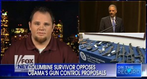Evan Todd, a Columbine survivor, is speaking out against President Obama's gun control plans. photo screenshot Fox interview