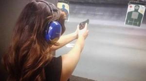 Kim Kardashian at gun range back in Nov