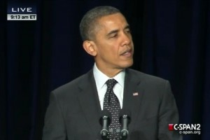 President Obama at the national prayer breakfast, putting on the appearance of being a Christian? screenshot CSPAN coverage