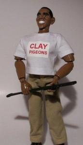 Skeet shooting Obama action figure