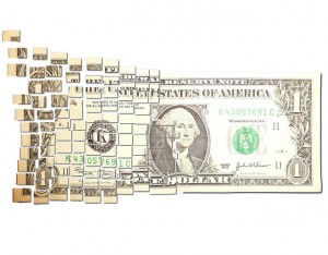 dollar bill breaking apart into little boxes
