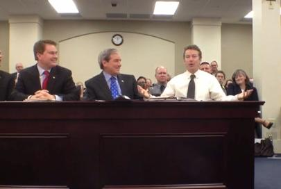 Sen. Rand Paul testifying to Ky. Senate Agriculture Committee in support of industrial hemp legalization bill. Image/Courier/Journal Video Screen Shot