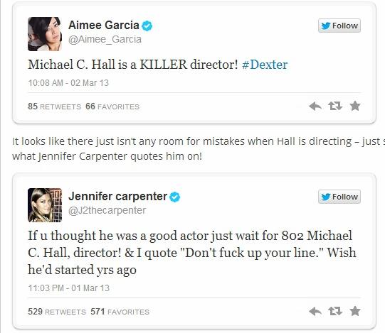 Dexter season 8 Jennifer Carpenter Aimee Garcia tweet MC HAll director