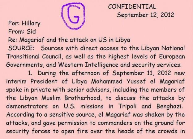 Hillary Clinton Benghazi memo