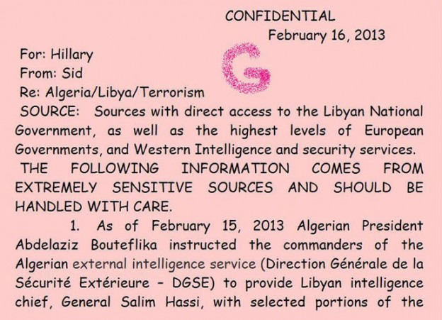 Hillary Clinton Benghazi sensitive memo