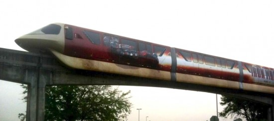 """The first photo of the newly decorated monorail at Magic Kingdom hit Monday as the new look promotes """"Iron Man 3"""" photo twitter"""
