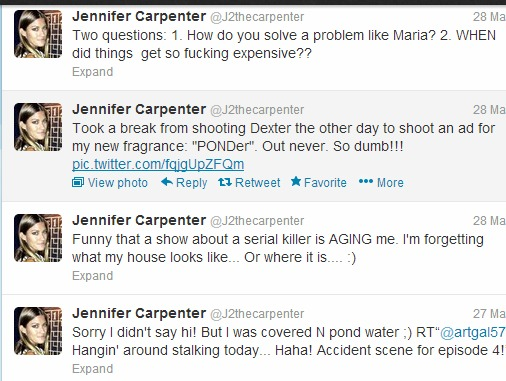 Jennifer Carpenter Dexter season 8 tweets