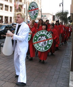 Will the protests effect Starbucks? The shareholders and CEO may be battling over the issue. photo Mason Wendell
