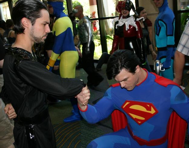 Superman kneeling before Zod Cosplay MegaCon 2013