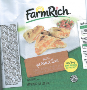 Farm Rich mini quesadillas with cheese Image/FSIS