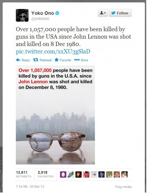 Yoko Ono tweeted this photo of John Lennon's bloodied glasses. Image source: Twitter screenshot