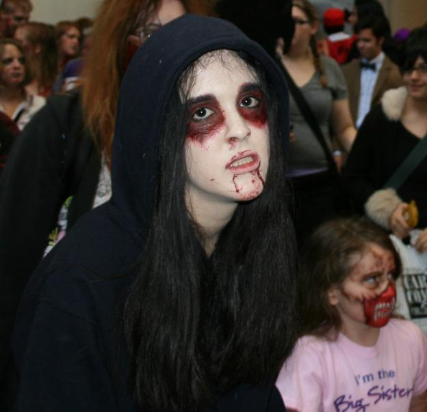 Zombie girl with little zombie girl Cosplay MegaCon 2013