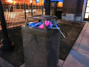 pro life flags in trashcan