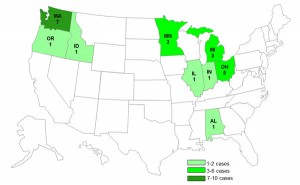 Persons infected with the outbreak strain of Salmonella Typhimurium, by State Image/CDC
