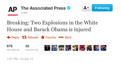 AP twitter hoax hackers White House explosion