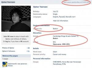 """Dzhokhar Tsarnaev """"Russian facebook page"""""""