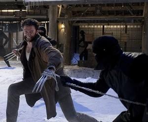 Hugh Jackman in The Wolverine battling ninja