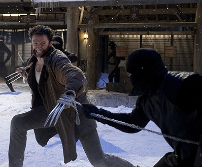 Hugh Jackman in The Wolverine battling ninja