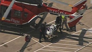 Stabbing victim being loaded on a helicopter for transport to a local hospital photo screenshot CNN coverage