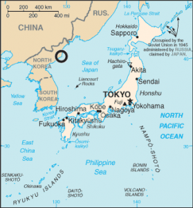 """CIA Map of Sea of Japan with circle locating North Korea Tonghae Satellite Launching Ground (previously Musudan-ri) and the text """"Sea of Japan"""" only   source: CIA"""